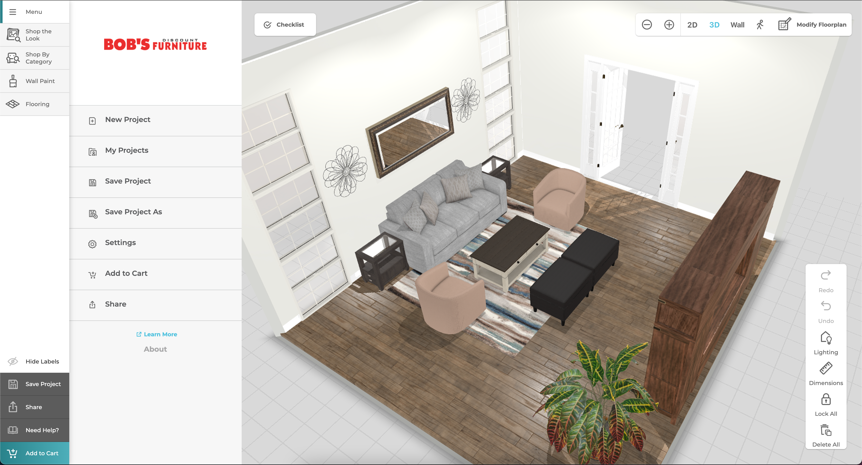 Left side of the window shows the menu of the application; the right side of the window shows a 3D view of the fully furnished room.