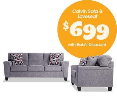 Calvin Sofa & Loveseat for $699