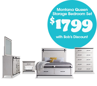 Montana Queen Storage Bedroom Set for $1799
